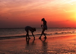 Beautiful beach photo at sunset